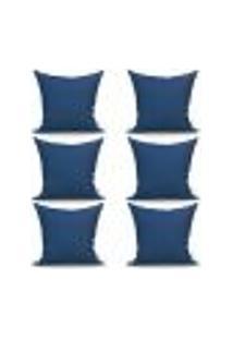 Conjunto De Capas Para Almofada Com 6 Peças Albany Ii Azul Marinho 60X60 Cm