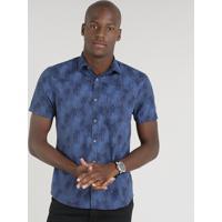 439b479a5b Camisa Masculina Slim Estampada De Coqueiros Manga Curta Azul Marinho