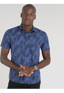 Camisa Masculina Slim Estampada De Coqueiros Manga Curta Azul Marinho