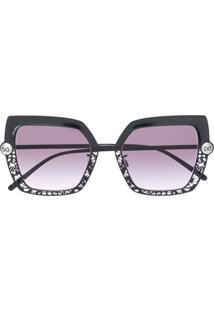 Dolce & Gabbana Eyewear Óculos De Sol Aviador Com Vazado - Preto