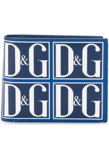 Dolce & Gabbana Carteira Dobrável Com Estampa De Logo - Azul