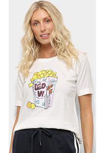 Camiseta Aura Pop Corn Feminina - Feminino-Off White