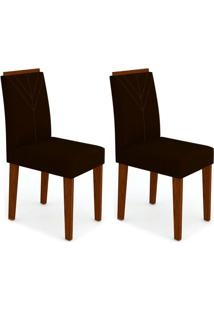 Conjunto Com 2 Cadeiras Amanda I Castanho E Preto