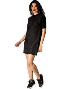 Vestido Mix De Tecido Handbook - Feminino-Preto