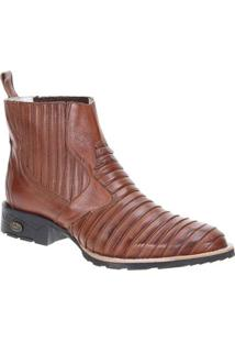 Bota Couro Country Via Boots Masculina - Masculino-Marrom