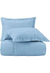 Jogo De Colcha Solteiro Altenburg Essence 200 Fios 100% Algodáo Fleurs - Azul Azul - Tricae
