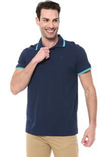 Camisa Polo Colombo Reta Listras Azul-Marinho/Verde
