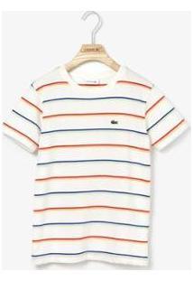 Camiseta Infantil Lacoste Listrada Masculina - Masculino-Branco