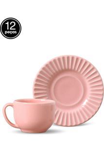 Conjunto 12Pçs Xícaras De Chá 160Ml Porto Brasil Plissé Rosa - Tricae