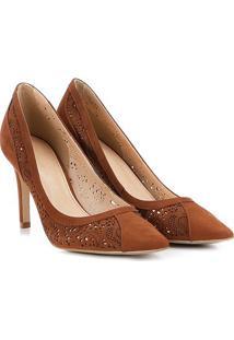 Scarpin Couro Shoestock Salto Alto Lasercut - Feminino-Caramelo