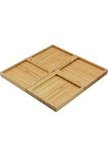 Petisqueira De Bambu Quadrado Desmontável - Oikos