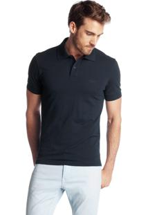 Polo Hugo Boss Masculina Regular-Fit Firenze/Logo Marinho