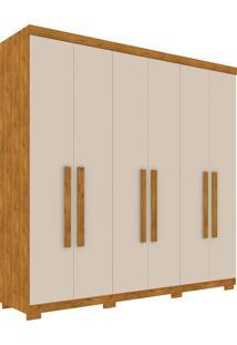 Guarda Roupa Columbia Robel 100% Mdf 6 Portas Slow Motion S/ Espelhos Nature/Off White Robel Móveis
