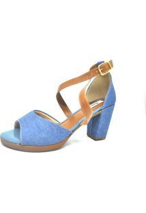 Sandalia Salto Grosso Jeans Caramelo Dani K Azul