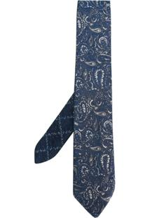 Etro Gravata De Seda Com Bordado Paisley - Azul