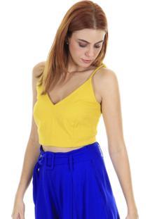 Blusa Cropped Alcinha Lisa Azul - Amarela Aha - Amarelo - Feminino - Dafiti
