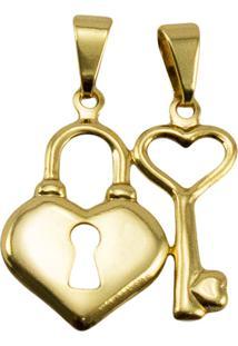 Pingente Chave E Coração Tudo Jóias Folheado Dourado