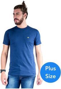 Camiseta Mister Fish Gola Careca Basic Plus Size Masculina - Masculino-Marinho