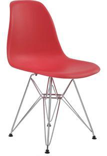 Cadeira Eiffel Sem Br Vermelho Base Cromada Rivatti Móveis