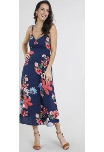 737f11446 R$ 139,99. CEA Vestido Floral Poliester Viscose Decote V Midi Embutir  Acinturado Alças Zíper Curto Alça Fina Estampado Azul Marinho Feminino