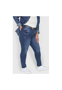 Calça Jeans Grifle Company Skinny Desgastes Azul