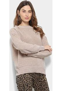 Suéter Tricot Facinelli Lurex Feminino - Feminino-Bege Claro