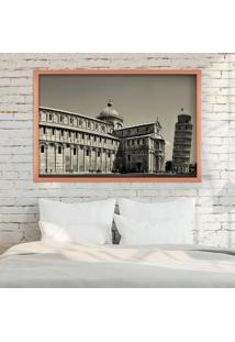 Quadro Love Decor Com Moldura Torre De Pisa Rose Metalizado Grande