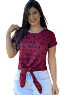Blusa Cropped Amarraã§Ã£O Blogueira Bordã´ - Vermelho/Vinho - Feminino - Dafiti