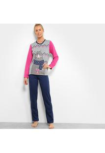 Pijama Sonnovinci Longo Tal Mãe Feminino - Feminino-Cinza+Azul