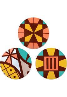 Jogo De Pratos Decorativos Com Suporte- Laranja & Amareldecor Glass