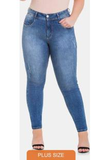 Calca Chapa Barriga 60% Elasticidade Jeans Medio