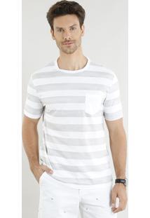 Camiseta Masculina Listrada Com Bolso Manga Curta Gola Careca Cinza
