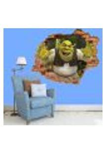 Adesivo De Parede Buraco Falso 3D Infantil Shrek - G 82X100Cm