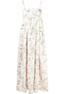 Bernadette Vestido Longo Jules Com Estampa Floral - Neutro