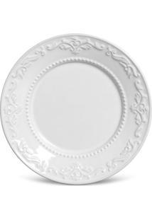 Prato Sobremesa Acanthus Cerâmica 6 Peças Branco Porto Brasil