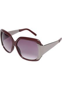 Óculos De Sol Quadrado - Bordô & Prateadocarmim