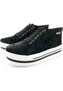 Tênis Flatform Quality Shoes Veludo Sola Alta Feminino - Feminino-Preto