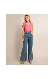 Calça Wide Leg Pantalona Jeans Marmorizada Cintura Alta Com Bolsos Azul Escuro