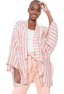 Kimono Oh, Boy! Listrado Rosa/Branco