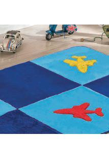 Passadeira Guga Tapetes Big Premium Avião 1.20Mx0,74Cm Azul Turquesa