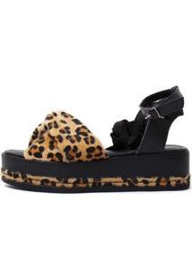 Sandália Nathi Onça Damannu Shoes Feminina - Feminino-Preto+Caramelo