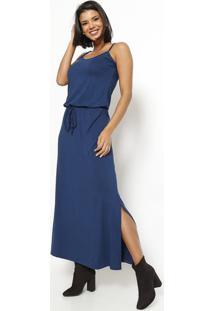 Vestido Longo Com Elástico E Amarração - Azul Marinho