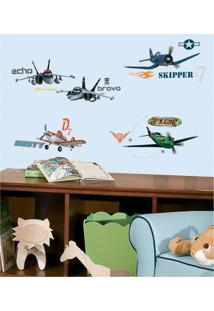Adesivo Decorativo Aviões Da Disney Azul Roommates