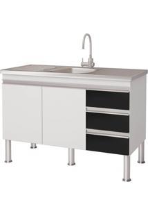 Gabinete Para Cozinha Em Mdp Ibiza 80X113,5Cm Branco E Preto