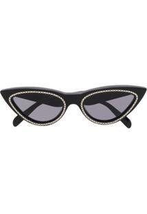 98683f23e Celine Eyewear Óculos De Sol Gatinho Com Aplicação - Preto
