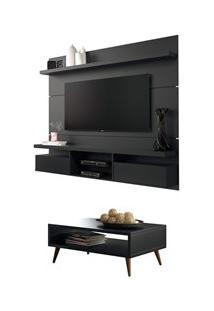 Painel Tv Livin 1.8 Com Mesa De Centro Lucy Preto - Hb Móveis