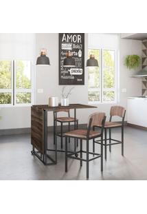 Conjunto De Mesa De Cozinha Luna Com 3 Bancos | Banquetas Nice Ameixa Negra E Preto