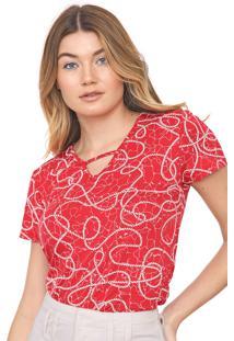 Blusa Cativa Estampada Vermelho/Branca