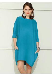 Vestido De Moletom Oversized Estampado Azul