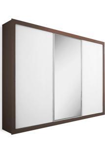 Armário 3 Portas De Correr Com Espelho, Ipê Com Branco, Premium Plus 2,16M